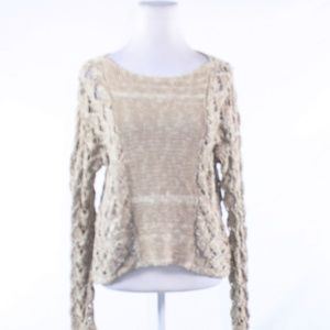 Beige geometric APT. 9 crochet knit sweater Medium